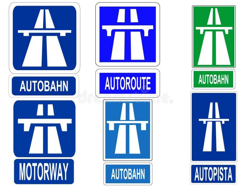 Signe allemand d'autoroute illustration libre de droits