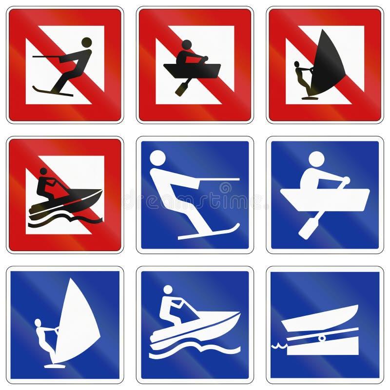 Signe allemand de navigation d'eau intérieure - le ski d'eau est interdit illustration libre de droits