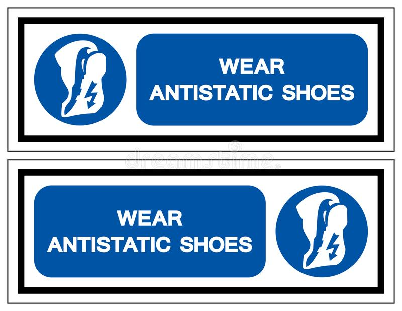 Signe antistatique de symbole de chaussures d'usage, illustration de vecteur, isolat sur le label blanc de fond EPS10 illustration de vecteur