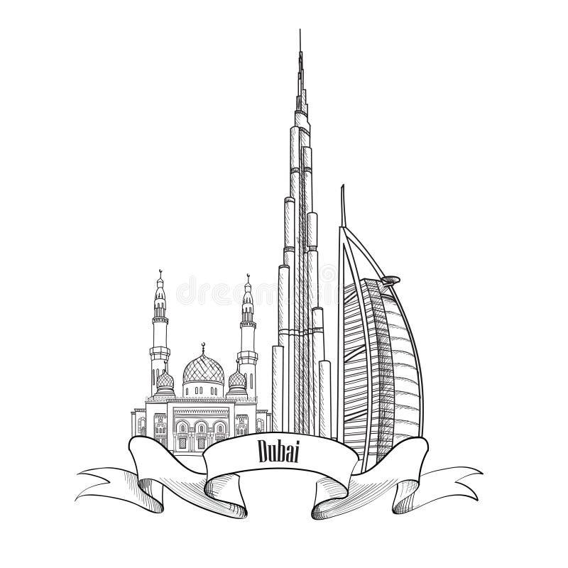Signe architectural des EAU de voyage Label de ville de Dubaï illustration stock