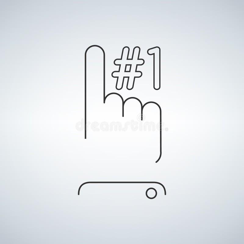 Signe ascendant du numéro un d'indication par les doigts illustration de vecteur