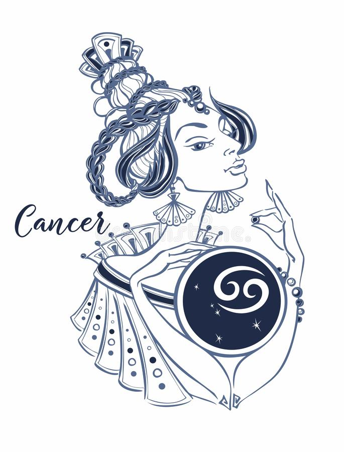Signe astrologique de Cancer en tant que belle fille zodiaque horoscope astrologie Vecteur illustration de vecteur