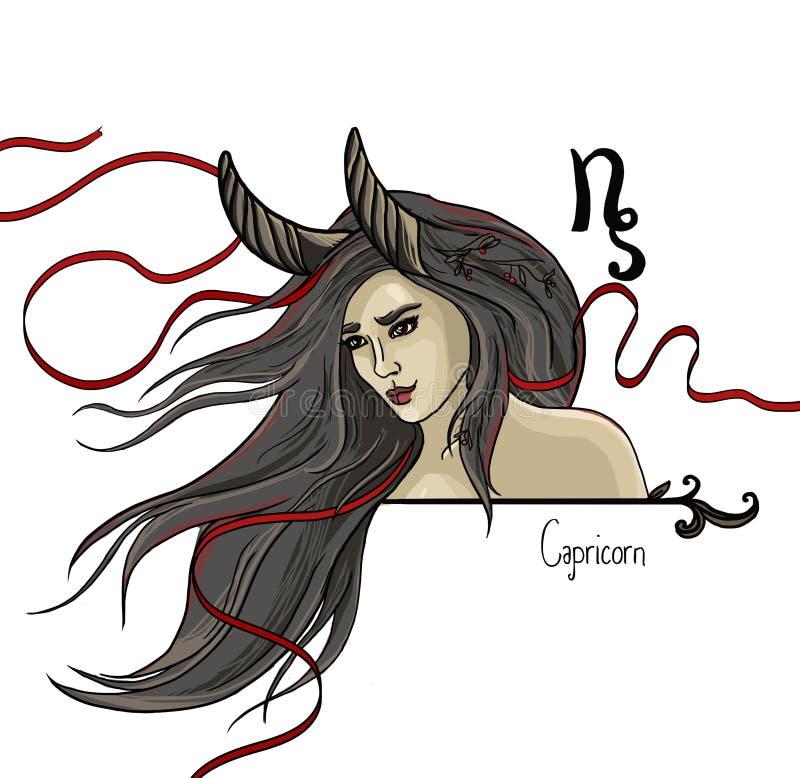 Signe astrologique de Capricorne en tant que belle fille illustration stock