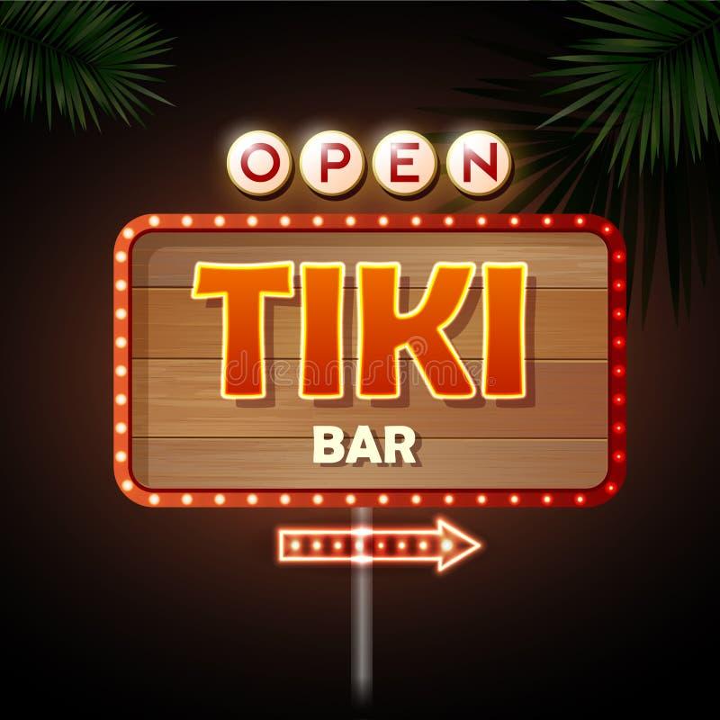 Signe au néon Barre de Tiki illustration libre de droits