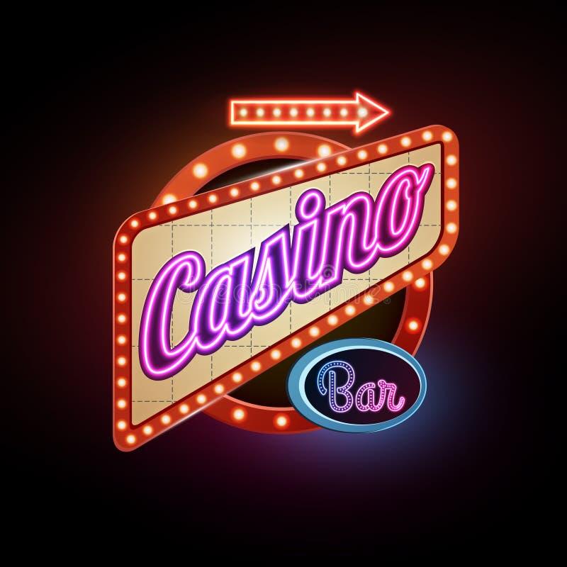 Signe au néon casino illustration stock