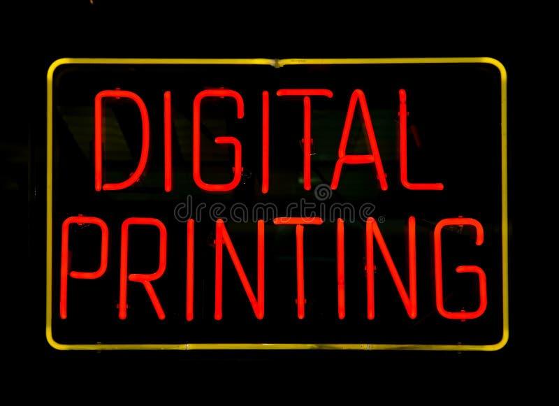 Signe au néon d'impression de Digitals photo libre de droits
