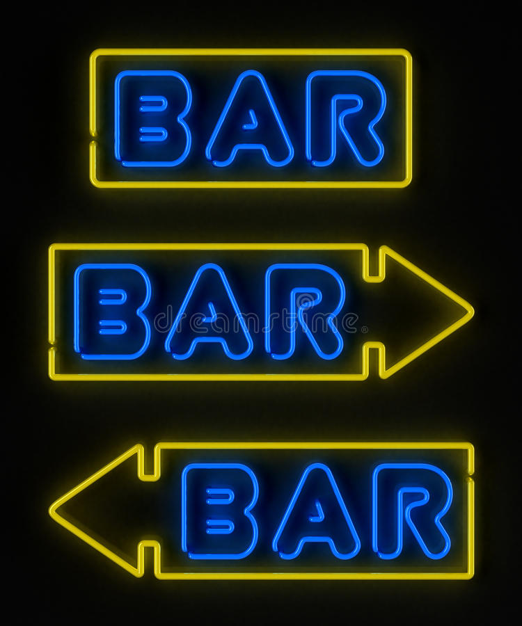 Signe au néon de bar illustration stock