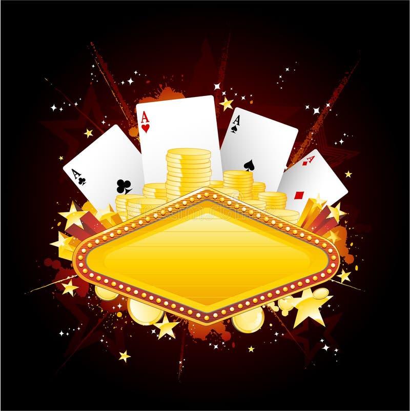 Signe au néon de casino illustration de vecteur