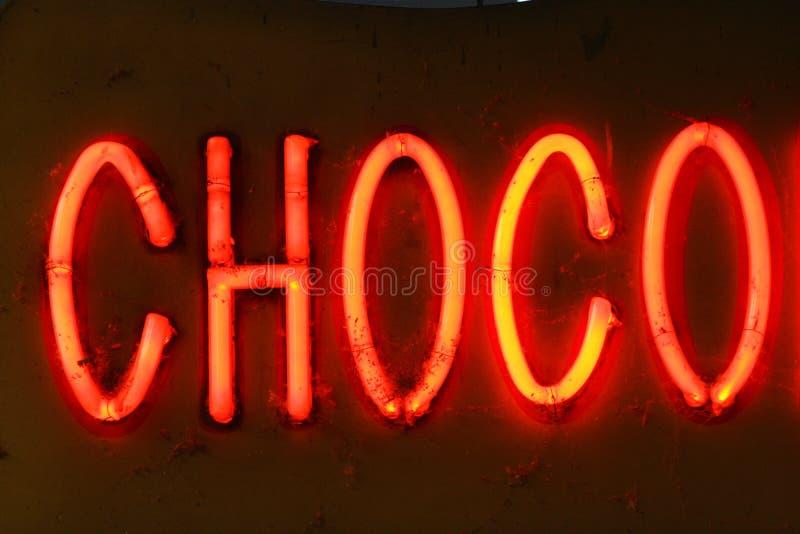Signe au néon de chocolat photographie stock libre de droits