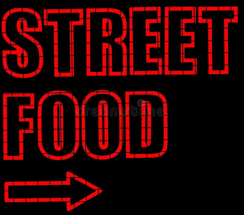 Signe au néon de nourriture de rue illustration de vecteur