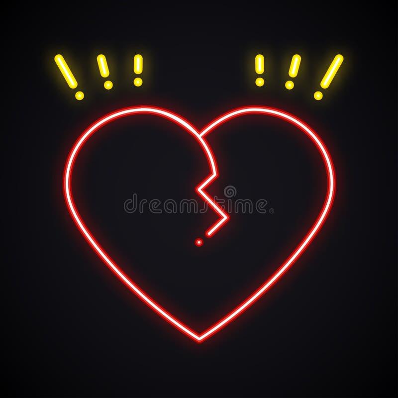Signe au néon du coeur brisé Symbole léger de divorce Immense chagrin, trahison, thème lumineux de dissolution illustration de vecteur