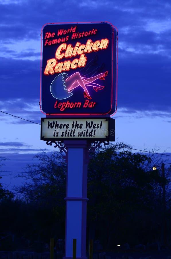 Signe au néon et allumé pour le bordel juridique de ranch de poulet photo stock