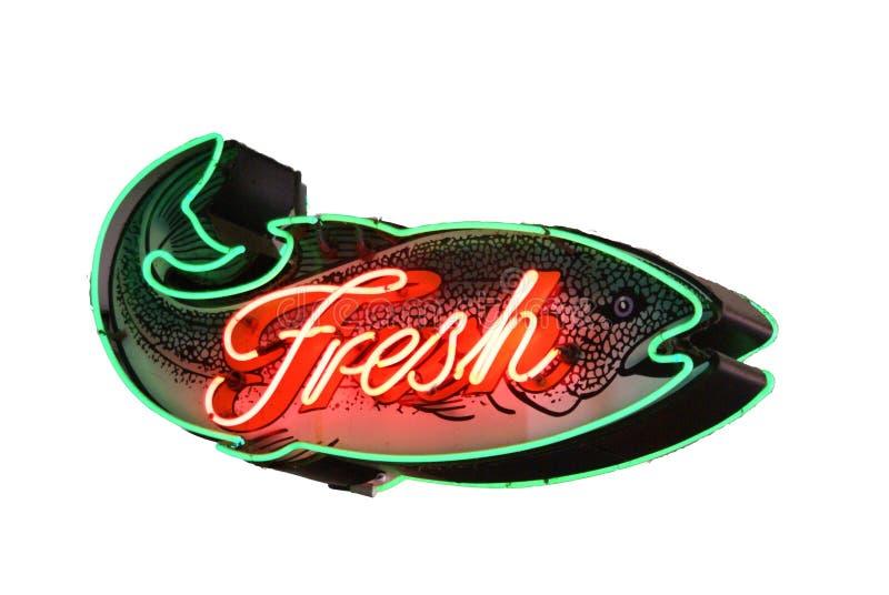 signe au néon frais de poissons image stock