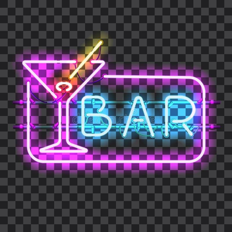 Signe au néon rougeoyant de barre avec le verre de martini images libres de droits