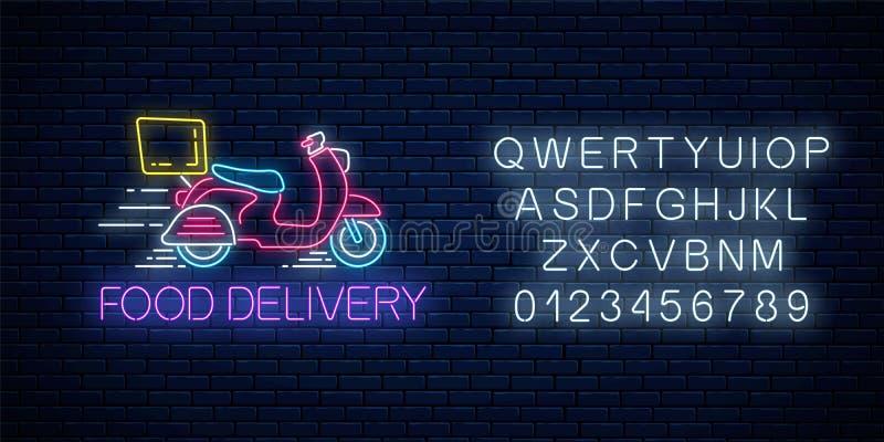 Signe au néon rougeoyant de la livraison de nourriture avec livrer le scooter avec l'alphabet Symbole rapide de la livraison dans illustration stock