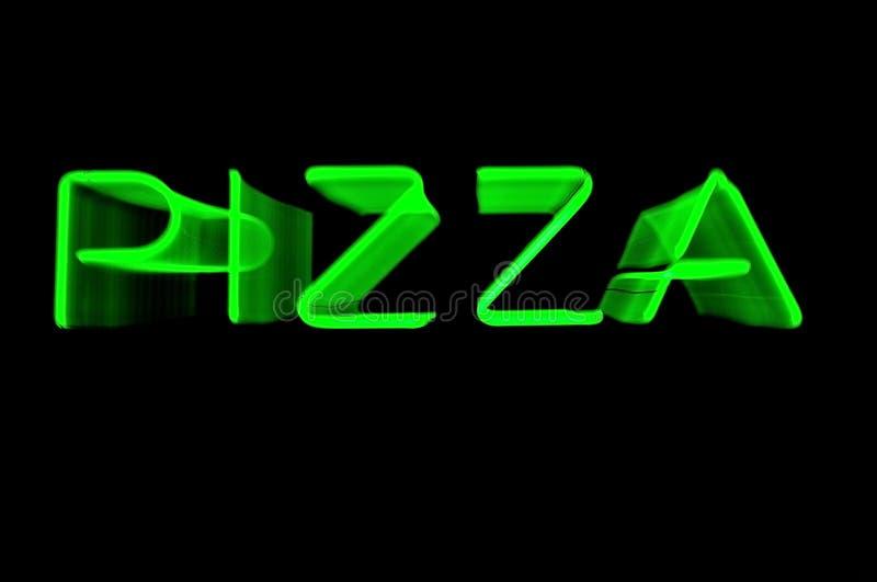 Signe au néon vert de changement de plan de pizza image libre de droits