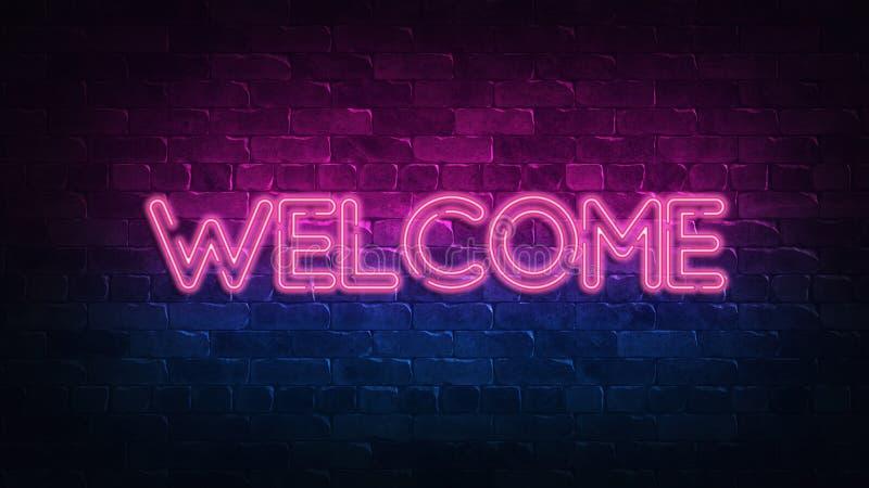 Signe au n?on bienvenu lueur pourpre et bleue Texte au n?on Mur de briques allum? par les lampes au n?on ?clairage de nuit sur le illustration de vecteur