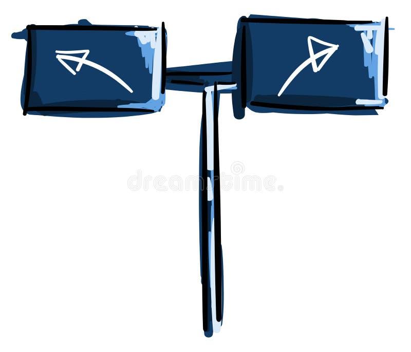 Signe avec des flèches dans le bleu illustration libre de droits
