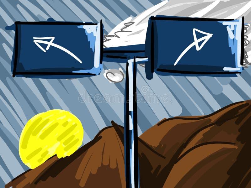 Signe avec des flèches sur le fond de montagnes illustration stock
