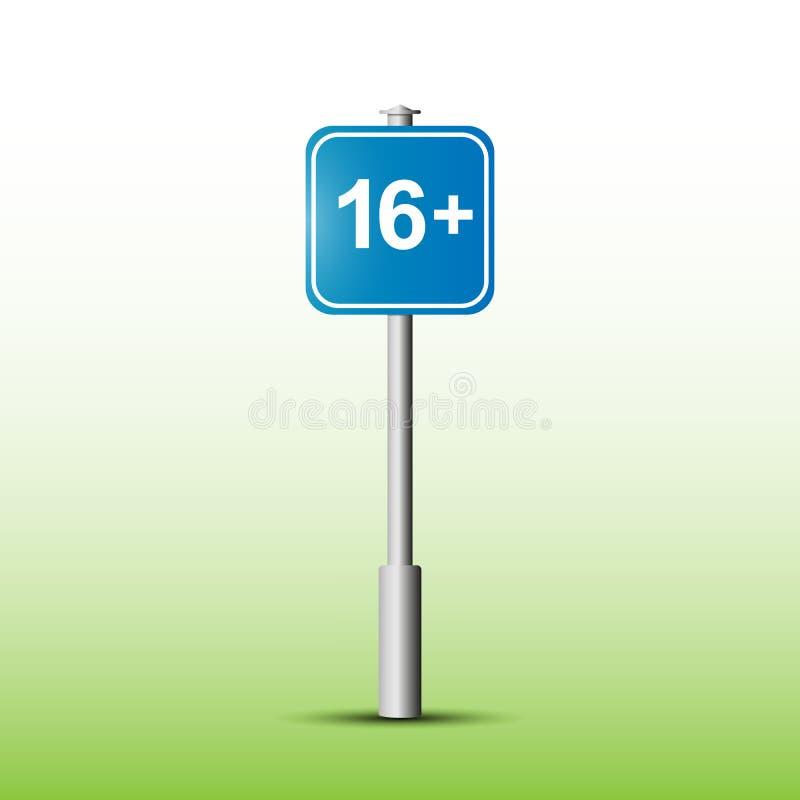 Signe avec la désignation de la limite d'âge 16 illustration de vecteur