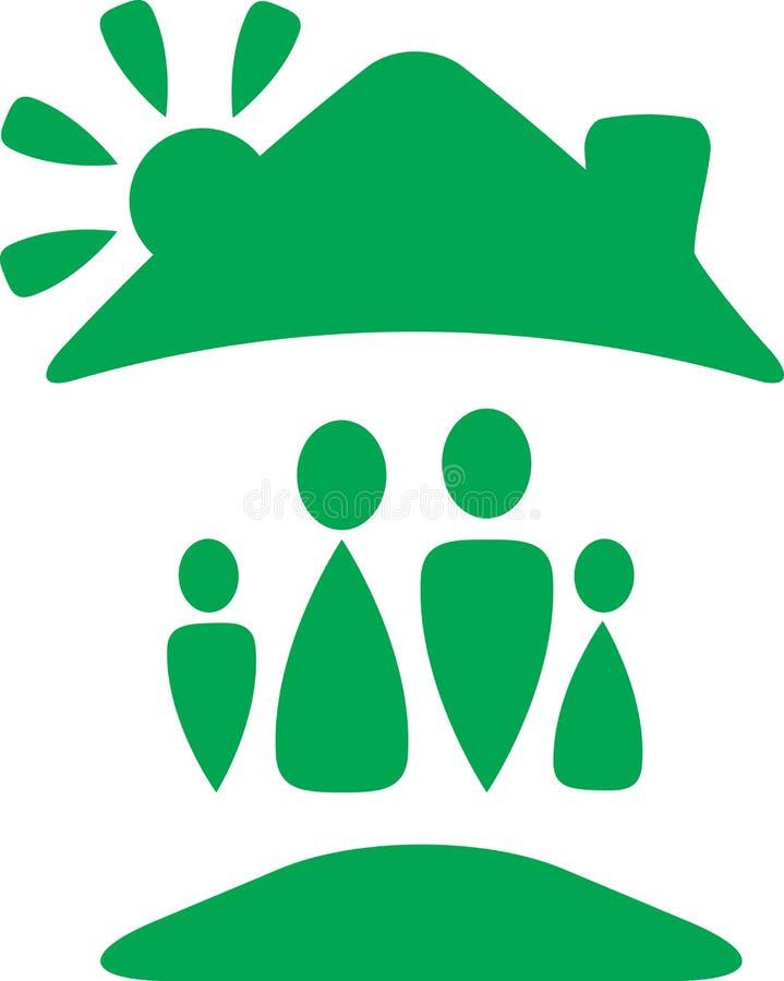 Signe avec la silhouette heureuse de famille sous le toit illustration de vecteur