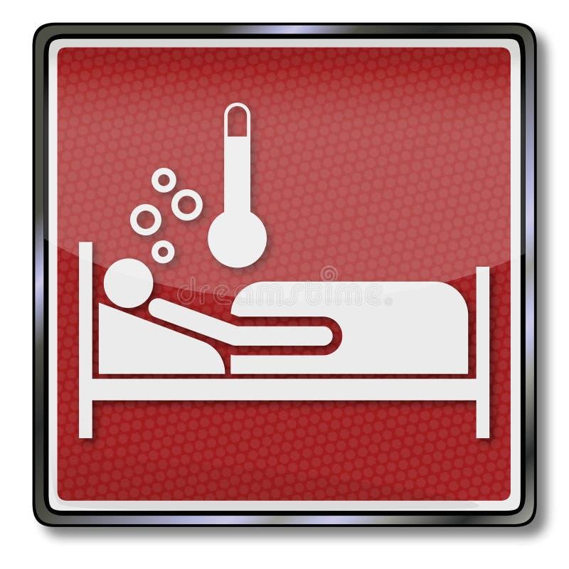 Signe avec le lit de malade et la fièvre illustration libre de droits