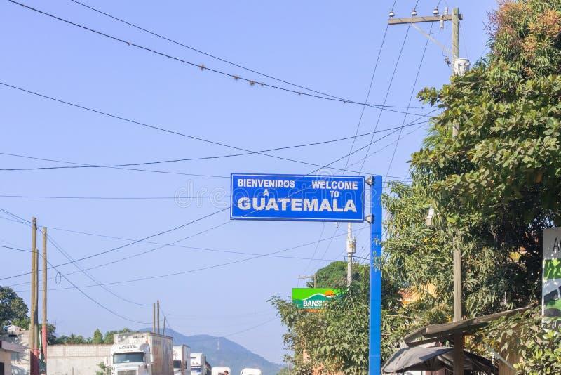 Signe bienvenu à la frontière du Honduras et du Guatemala en EL Florido photo stock