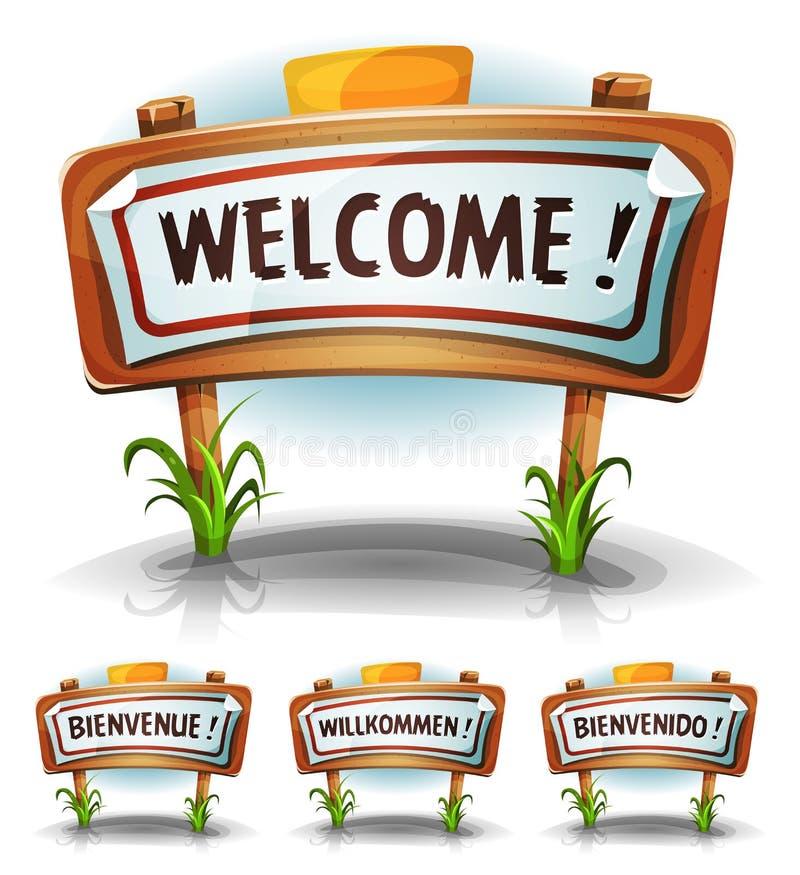 Signe bienvenu de ferme ou de pays illustration stock