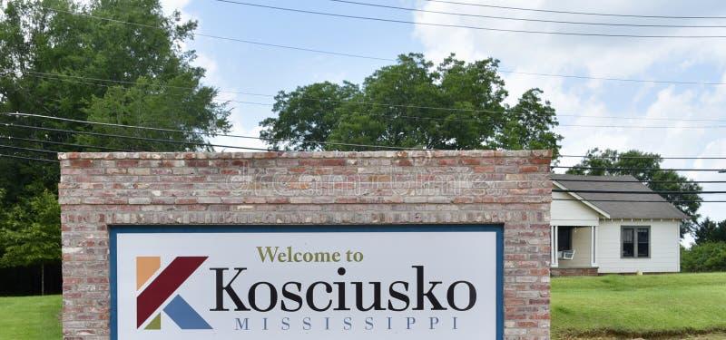 Signe bienvenu de Kosciusko Mississippi photo stock