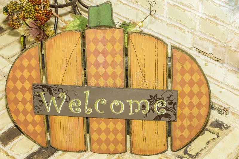 Signe bienvenu de potiron photos stock