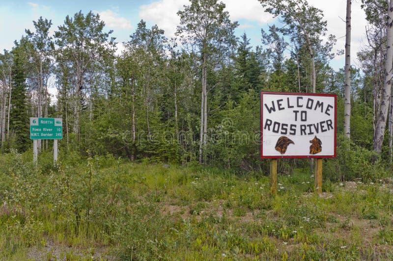Signe bienvenu de Ross River images libres de droits