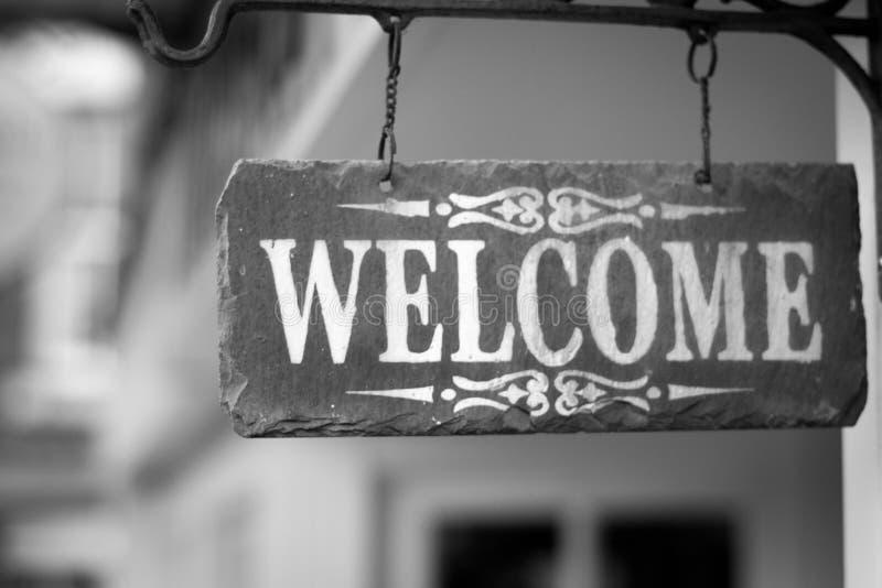 Signe bienvenu, pont en fer, Shropshire, Angleterre R-U photos stock
