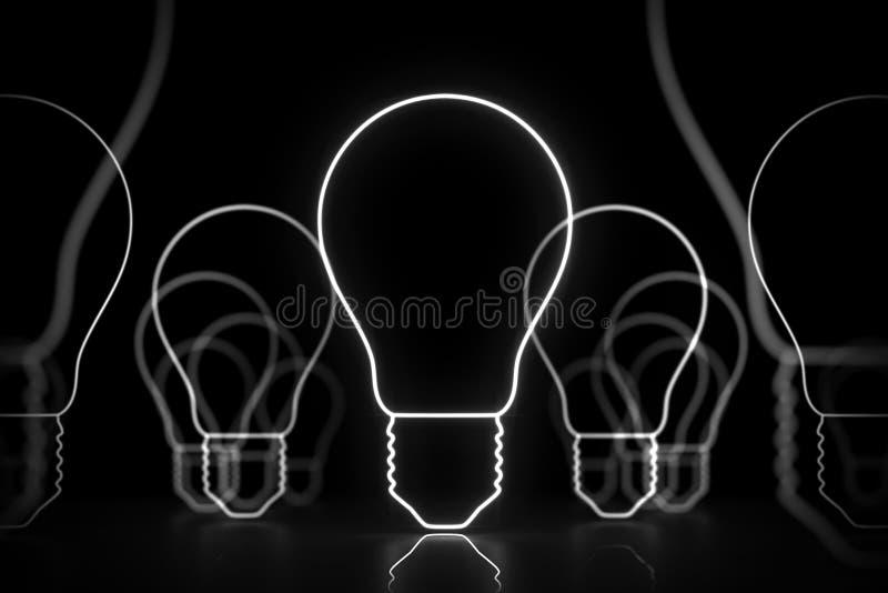 Signe blanc au néon d'idée rougeoyant sur les ampoules noires et illustration libre de droits
