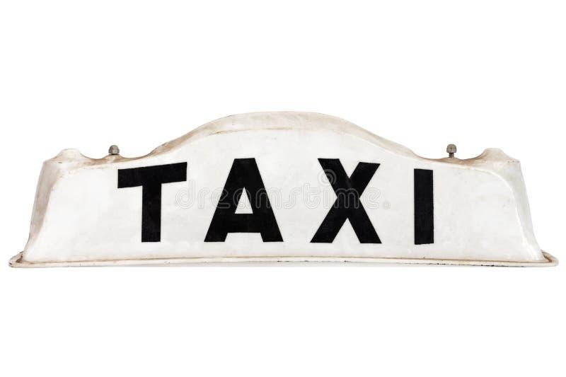 Signe blanc de toit de taxi d'isolement sur le blanc image libre de droits