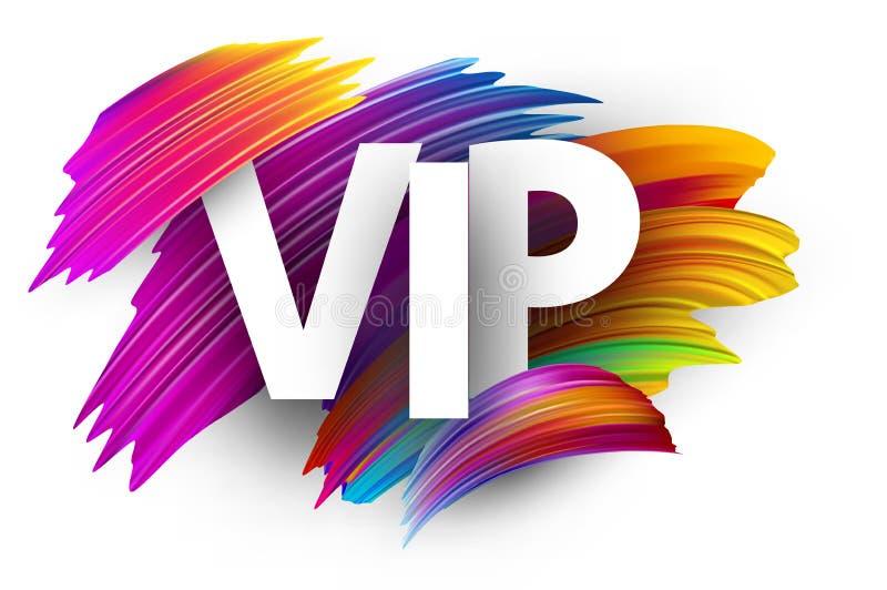 Signe blanc de VIP avec les courses colorées de brosse illustration stock