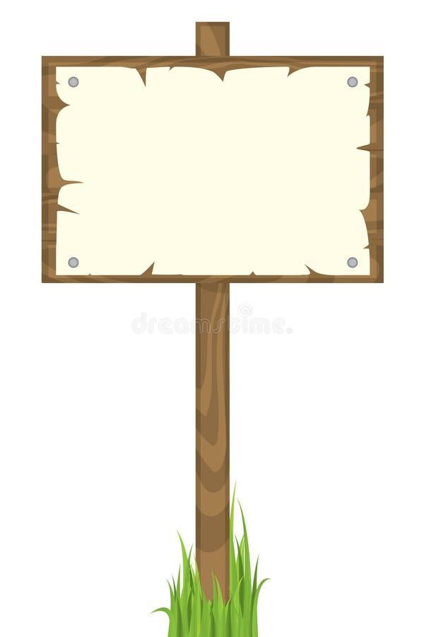 signe blanc en bois illustration libre de droits