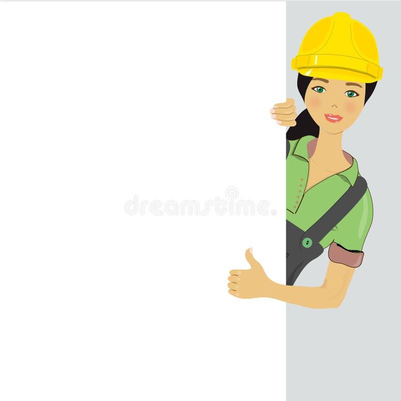 Signe blanc - travailleur de la construction illustration de vecteur