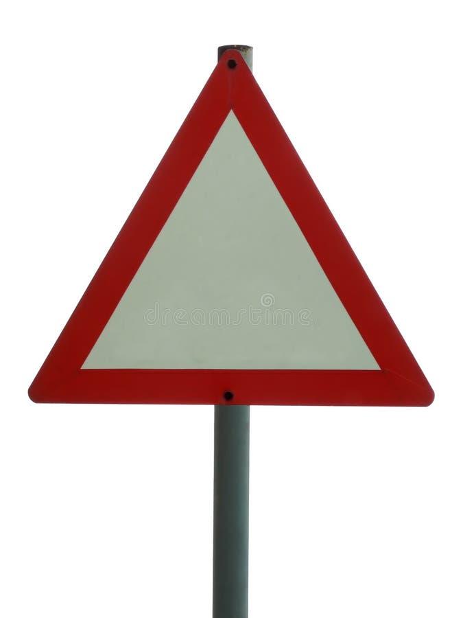 Signe blanc - triangulaire photographie stock