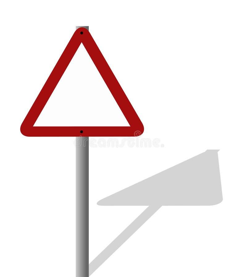 Signe blanc - triangulaire avec l'ombre d'étage illustration libre de droits