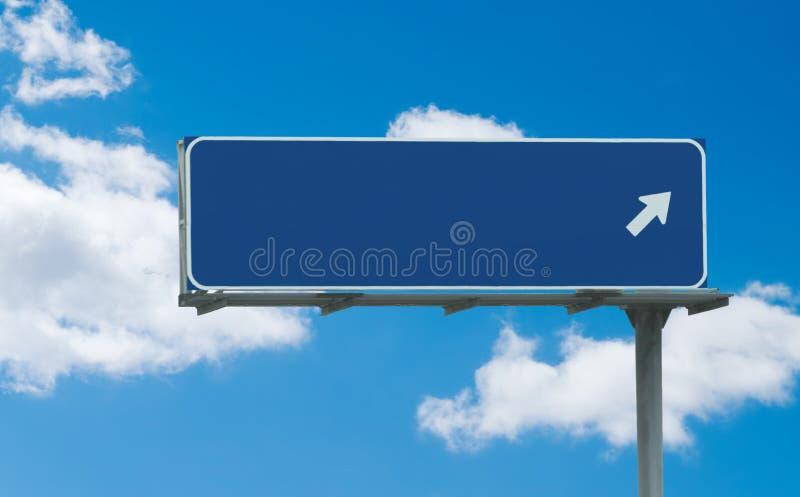 Signe bleu blanc d'autoroute photographie stock libre de droits