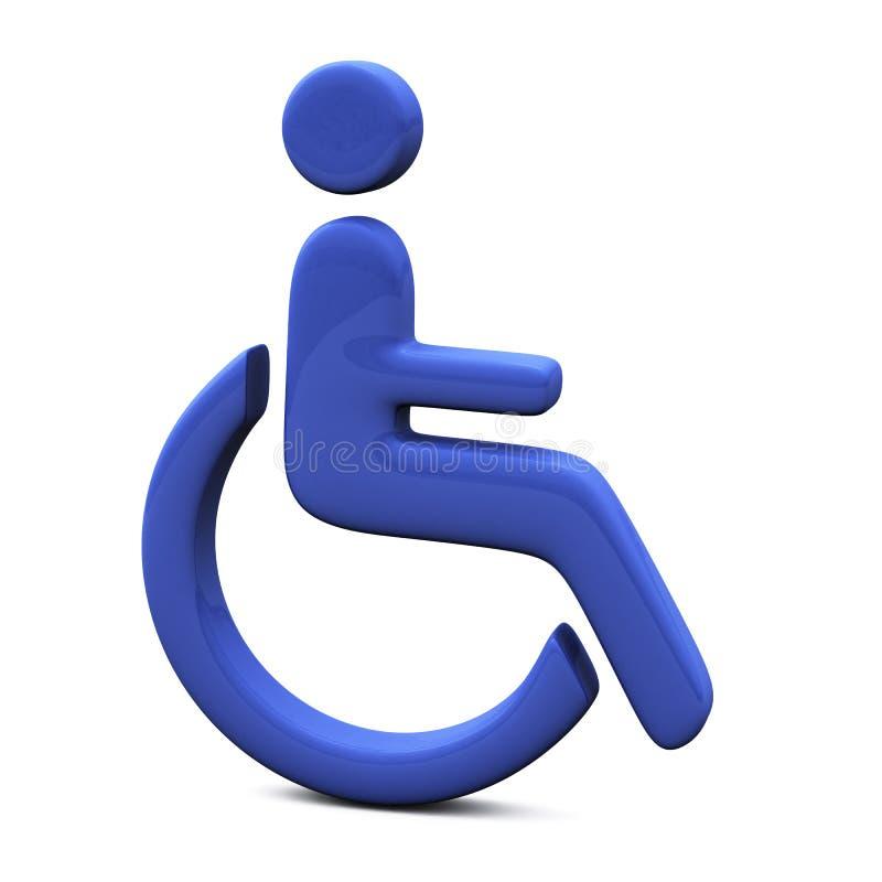 Signe bleu d'handicap, 3d illustration stock