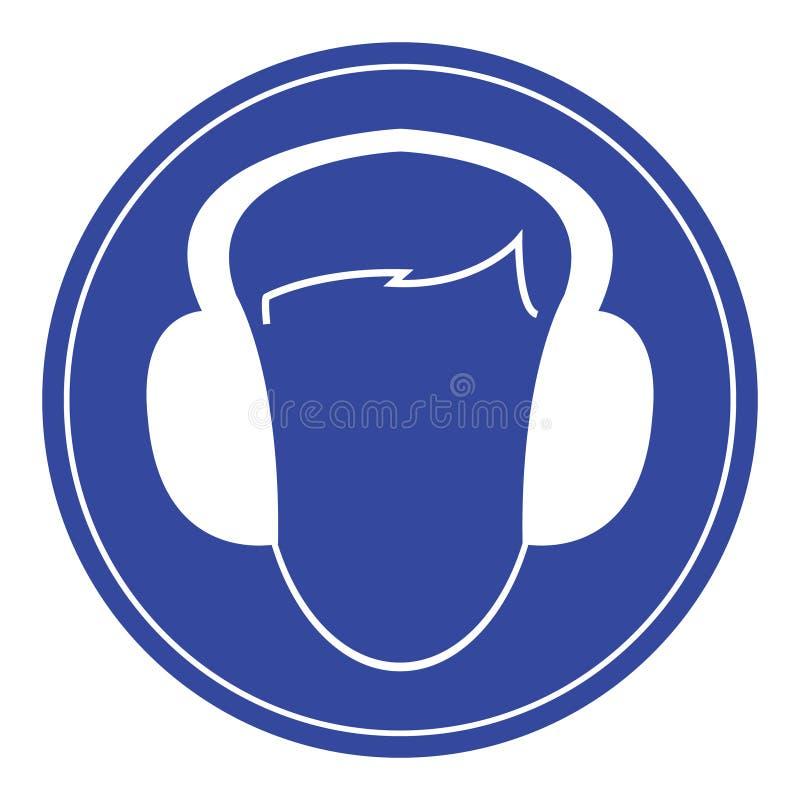 Signe bleu de protecteurs auriculaires d'usage image stock