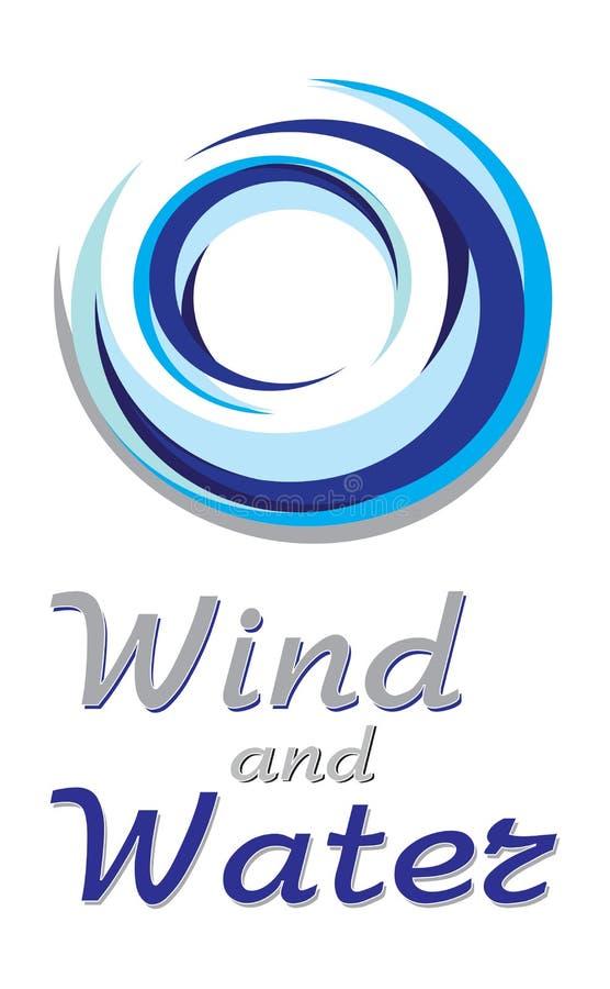 Signe bleu de vent et d'eau illustration de vecteur