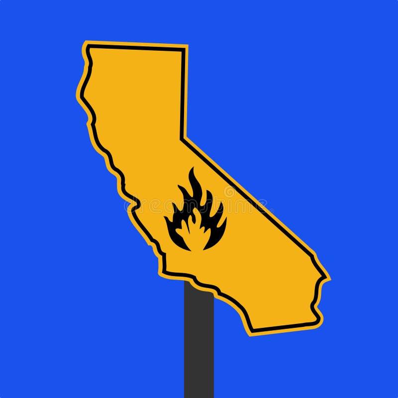 Signe californien d'alarme d'incendie illustration stock