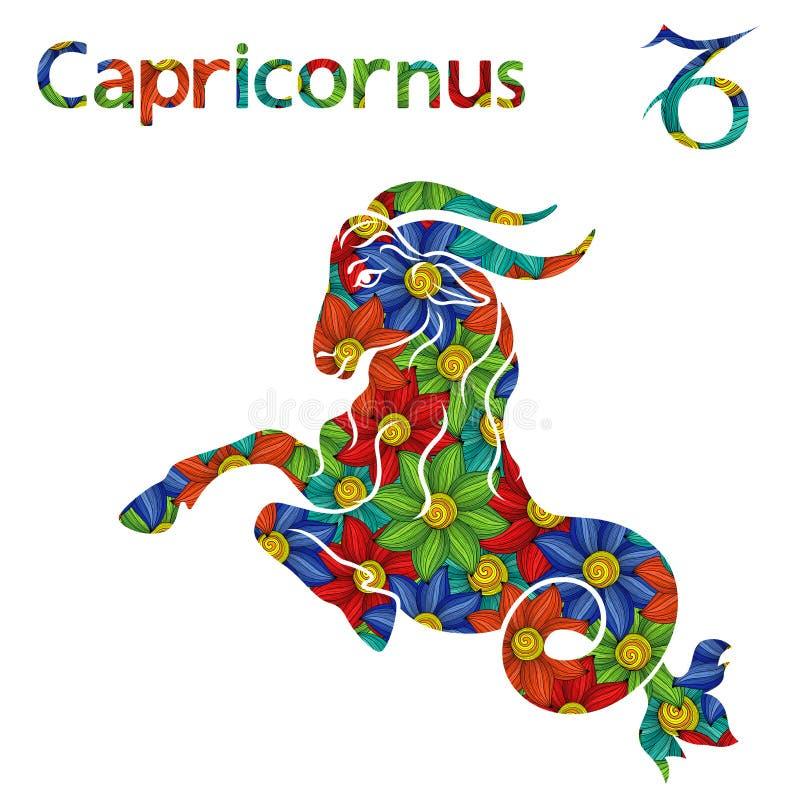Signe Capricornus de zodiaque avec les fleurs stylisées illustration de vecteur