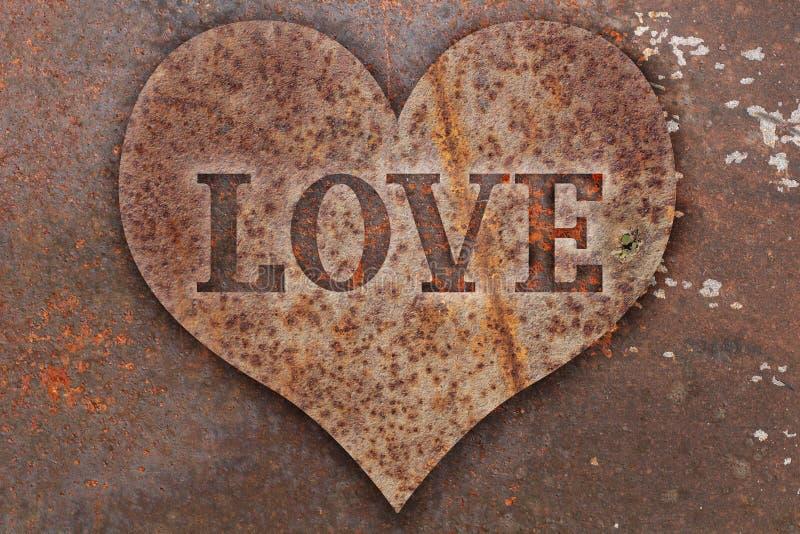 Signe cardiaque sur métal image stock