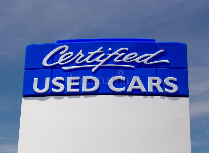 Signe certifié de voiture d'occasion photos libres de droits