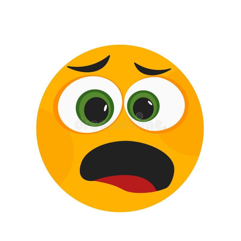 Signe choqué et symbole de vecteur d'icône de sourire d'isolement sur le fond blanc, concept choqué de logo de sourire illustration stock