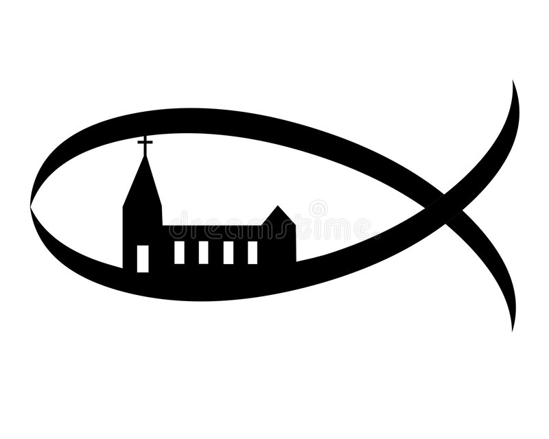 Signe chrétien de symbole d'église de poissons illustration de vecteur