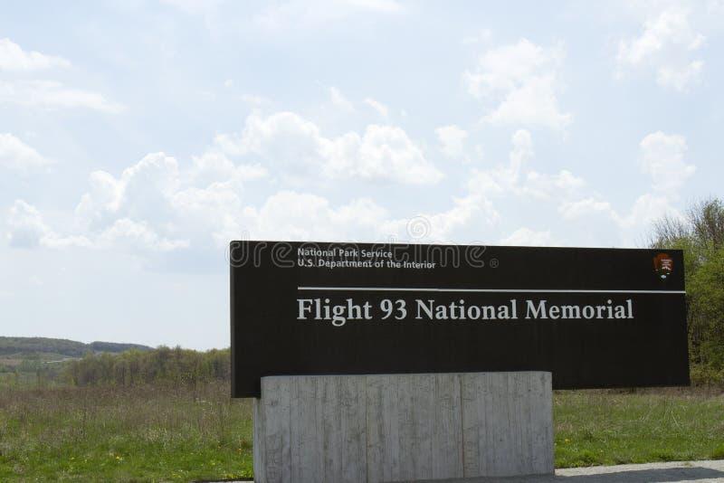 Signe commémoratif national du vol 93 photos stock
